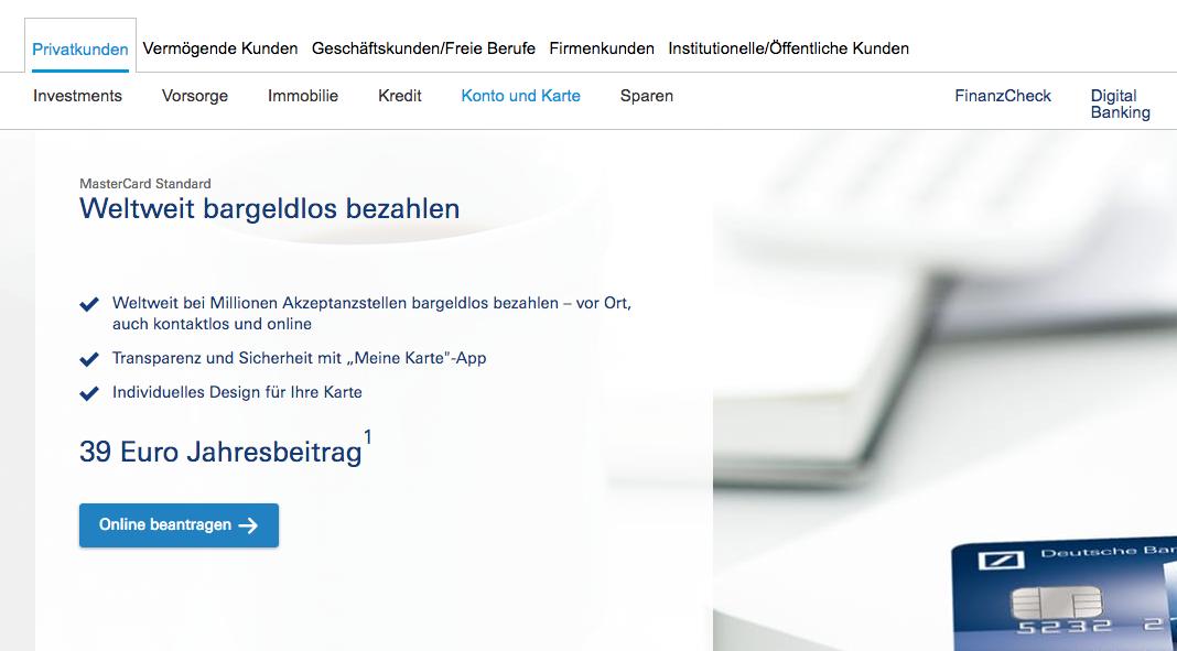 Deutsche Bank Kreditkarte Online Beantragen Ablauf Bedingungen Kreditkarte Kostenlos De