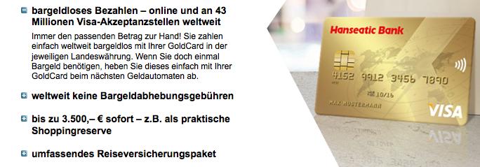 Hanseatic Bank Goldcard Tests Und Erfahrungen Im Uberblick Kreditkarte Kostenlos De